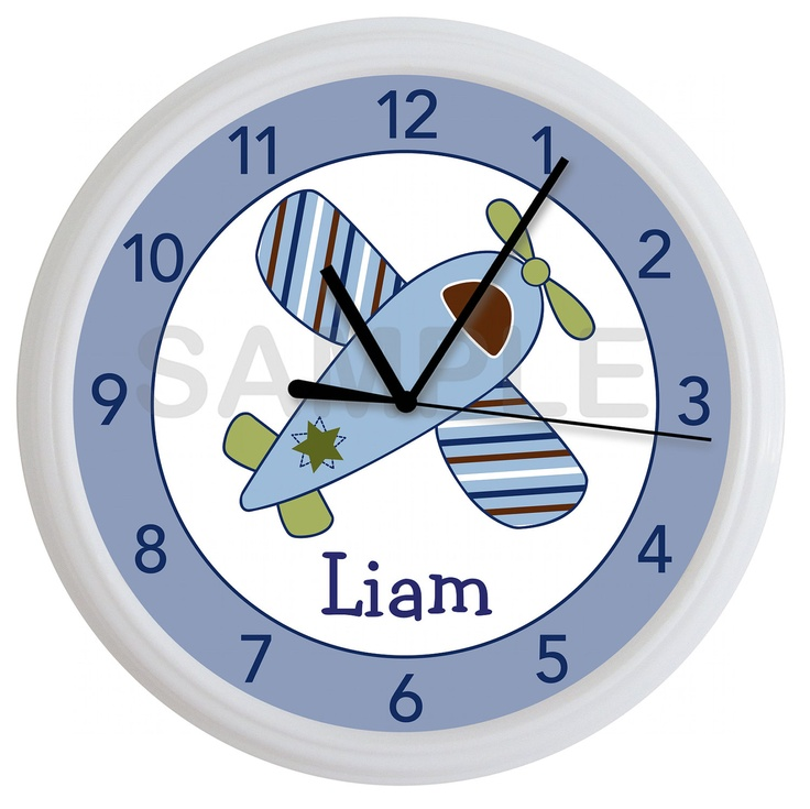 If baby is a boy...  Little Aviator Airplane Personalized Nursery Wall Clock Boy's Bedroom. $15.99, via Etsy.
