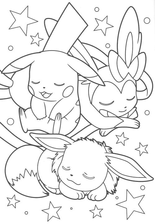 Pikachu and Eevee Friends coloring book end Anime