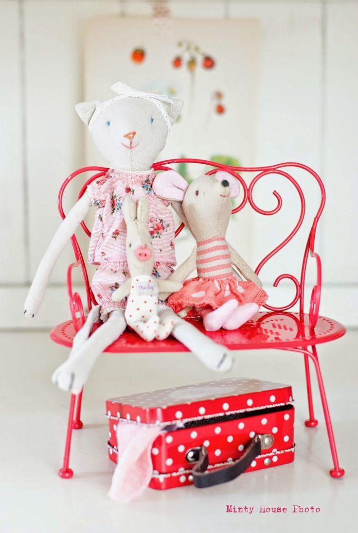 Maileg Mini Cat, Big Sister Dot Mouse and Newborn Rabbit