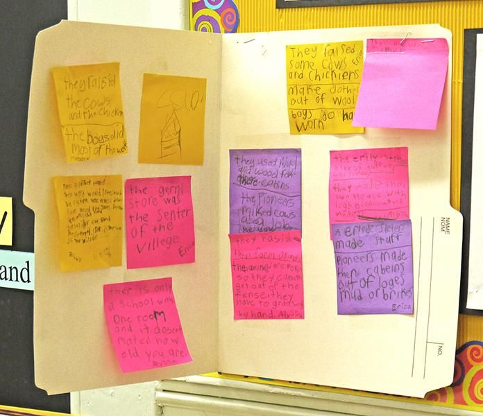 """Knowledge Building: Schema Folder (Gr. 3-6) – Having students use folders to organize their notes on distinct topics is meaningful if using one's """"schema"""" has been taught as a reading comprehension strategy. The folders are an application of the reading strategy, drawing a connection between reading and knowledge-building. They also teach students the value of taking notes as they read because the tools and structure are simple and conducive to later organizing and using one's notes."""