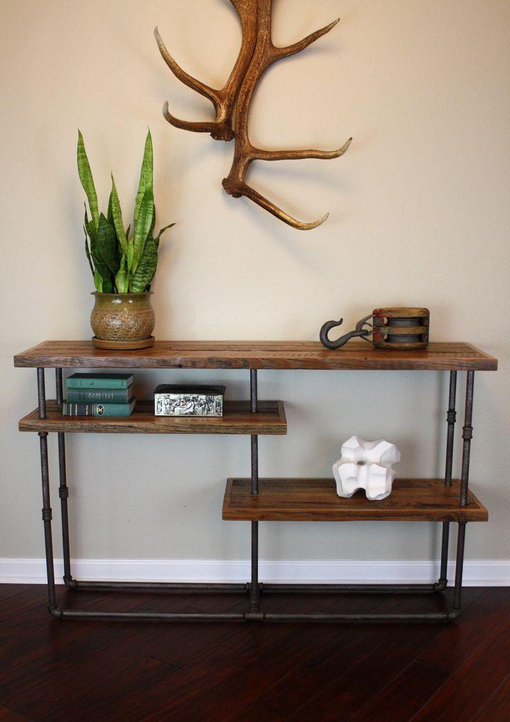 Industrial Console // Reclaimed Wood & Steel Pipe // Rustic Sideboard. $595.00, via Etsy.
