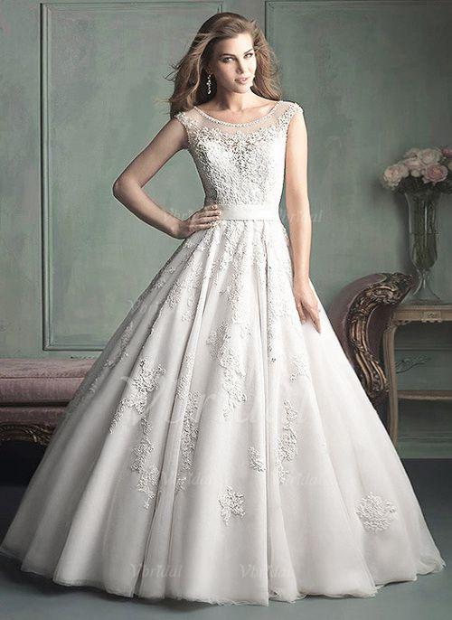 Bröllopsklänningar - $259.99 - Balklänning Rund-urringning Domkyrkan Tåg Satäng Tyll Bröllopsklänning med Pärlbrodering Applikationer Spetsar (0025056480)