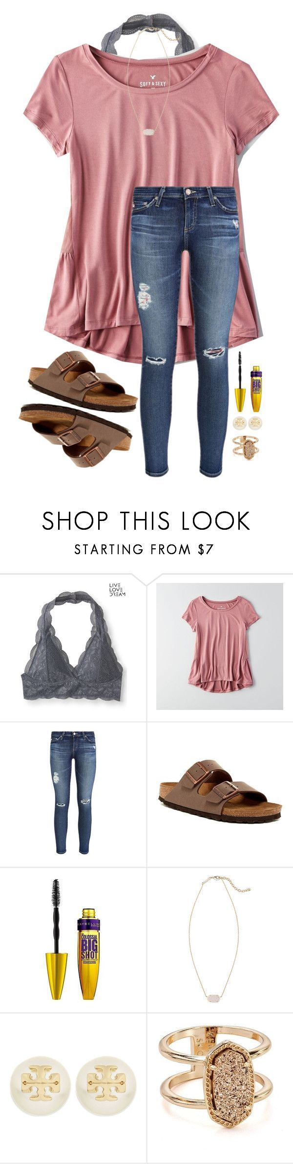 """Back to School Outfits """"Beauty & the Beast is so good!"""" by southernsophia ❤ liked on Polyvore featuring Aéropostale, American Eagle Outfitters, AG Adriano Goldschmied, Birkenstock, Maybelline, Kendra Scott and Tory Burch"""
