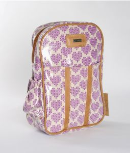 Fun, beautiful Thandana Kiddies Backpack shades of purple in color with a heart motive. Shop @ www.wave2africa.com