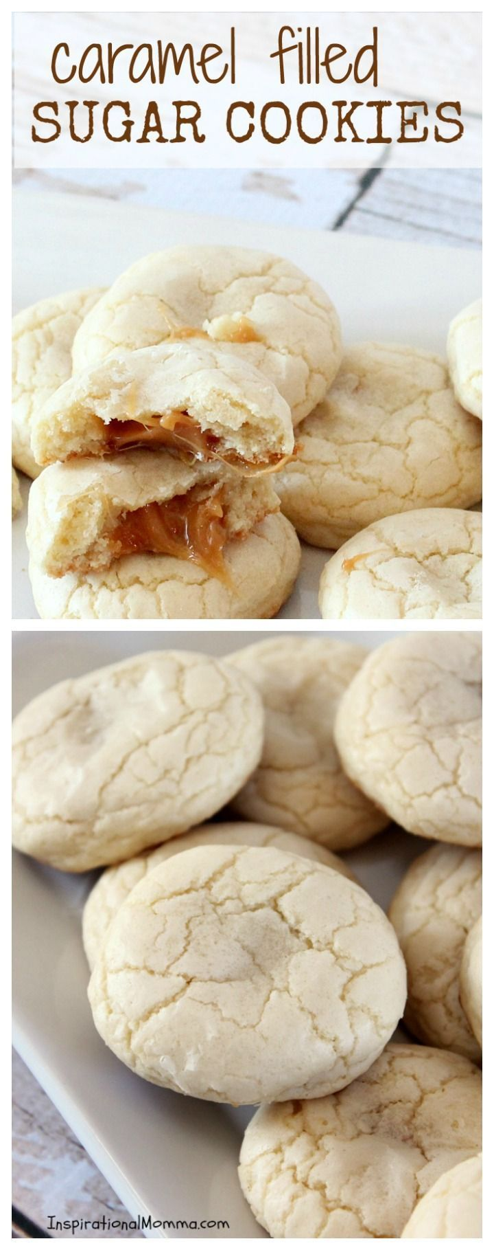 These Caramel Filled Sugar Cookies will melt in your mouth and blow your mind. The smooth caramel is the perfect surprise inside a soft, chewy cookie!