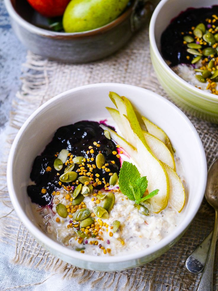 Ginger spiced apple bircher muesli is a healthy breakfast that's easy to make ahead. With a base of gluten free oats & chia, you can also make this dairy free. Recipe via nourisheveryday.com