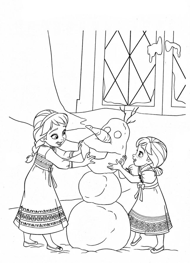 Раскраски Холодное сердце анна и эльза в детстве