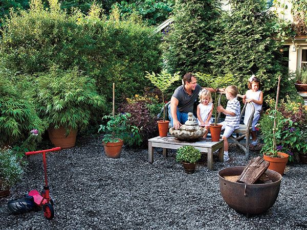 outdoor sitting areas by gardens   This lush backyard becomes a perfect sitting area with just a quirky ...