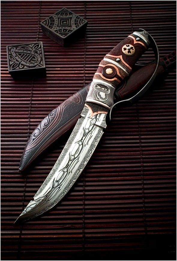 D Guard Curved Dagger / Sword  André Andersson Custom Damascus Knives - Knives, Daggers, Swords and Artknives from Sweden