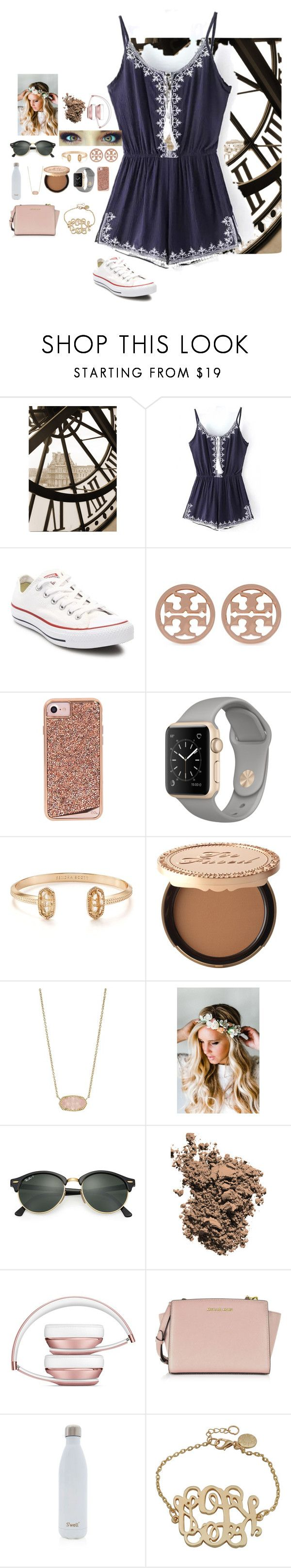 """••"" by mackenzielacy814 ❤ liked on Polyvore featuring Converse, Tory Burch, Case-Mate, Kendra Scott, Too Faced Cosmetics, Emily Rose Flower Crowns, Ray-Ban, Dolce&Gabbana, Michael Kors and S'well"