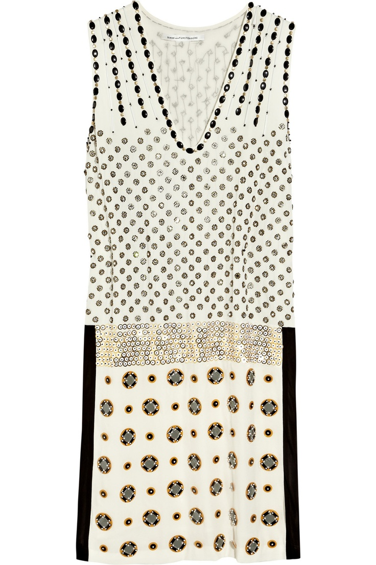 Embellished silk-chiffon dress by Diane von Furstenberg
