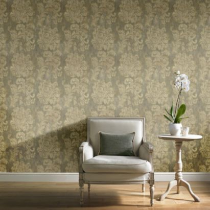 Gold decadent trail brown damask metallic wallpaper bq for all your home and garden supplies and advice on all the latest diy trends
