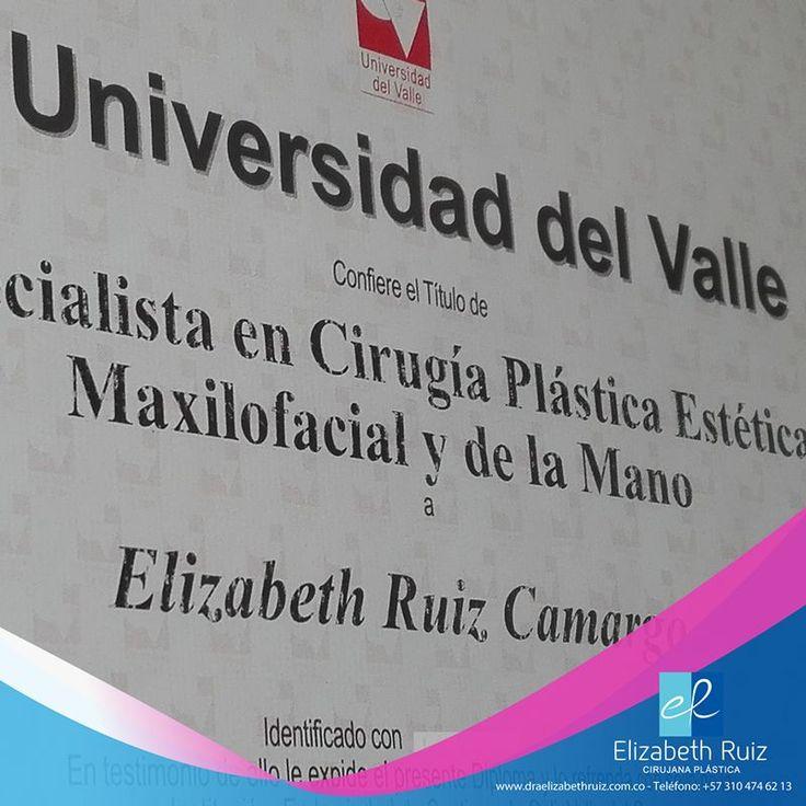 La valoración de un profesional idóneo es el primer paso para que tu cirugía plástica sea un éxito. Los títulos que realmente valen son los obtenidos en especializaciones de 4 y 5 años, otorgados por instituciones educativas acreditadas y reconocidas, los cirujanos plásticos que cumplen con todos los requisitos son miembros de Asociaciones Científicas reconocidas como la SCCP.  Dra. Elizabeth Ruiz Médica y Cirujana Cirujana Plástica Miembro de la Sociedad Colombiana de Cirugía Plástica.