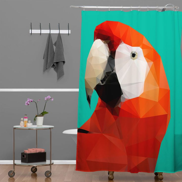 Three Of The Possessed Parrot Red Shower Curtain | DENY Designs Home Accessories