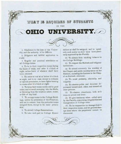 Ohio University Rules for Students, 1840.  Ohio Memory Collection. :: Ohio University Archives