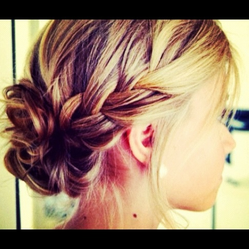 Braid to bun!  This would be a cute look for summer!