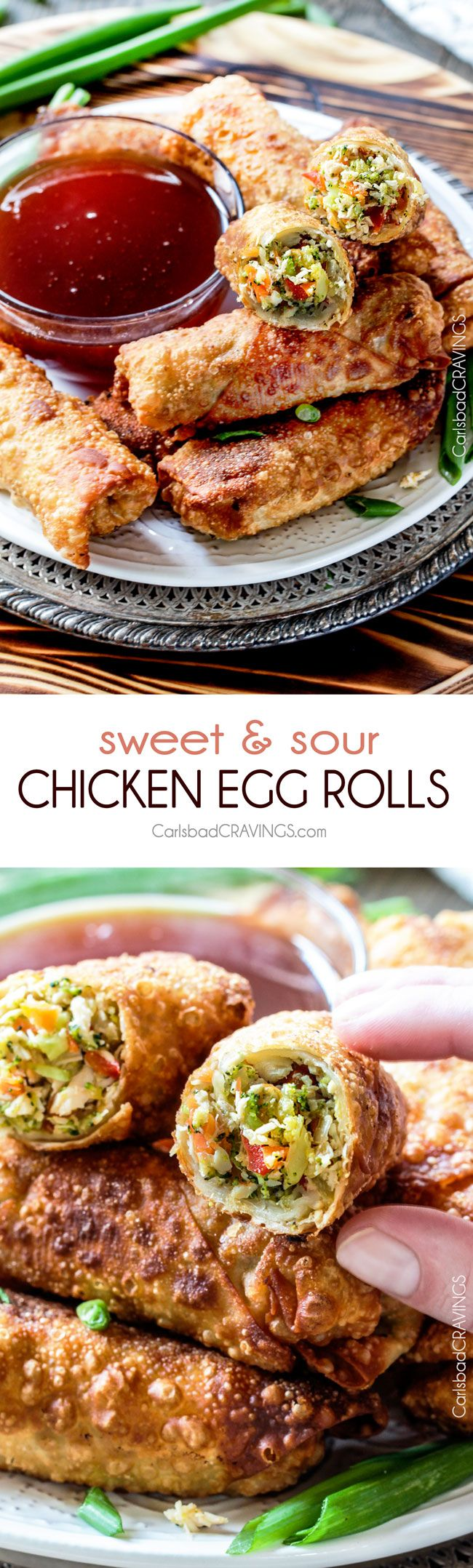 Sweet and Sour Chicken Egg are the best egg rolls I've ever had with the best sweet and sour sauce! And made extra fast with the food processor. I am bringing these to all my holiday parties! #appetizer #NewYears #Christmas