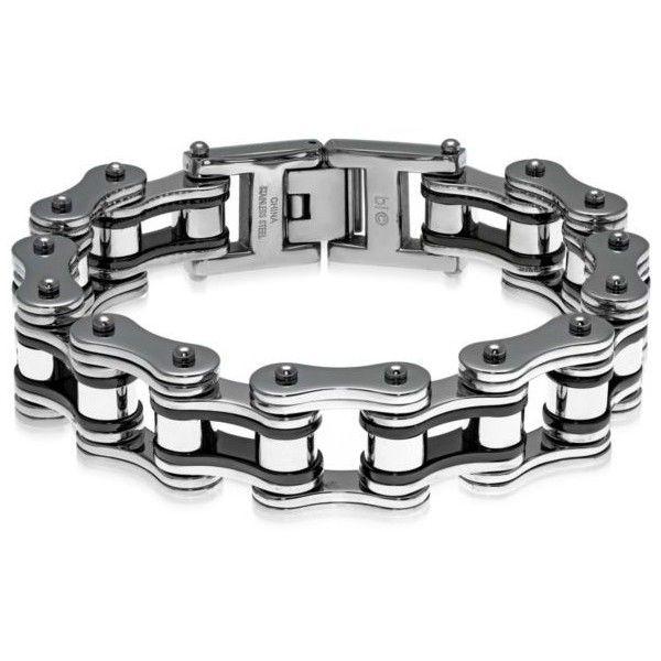 Belk & Co.  Men's Stainless Steel Motorcycle Chain Bracelet ($105) ❤ liked on Polyvore featuring men's fashion, men's jewelry, men's bracelets, grey, mens watches jewelry, mens stainless steel bracelets, mens chains, mens chain link bracelets and mens bracelets