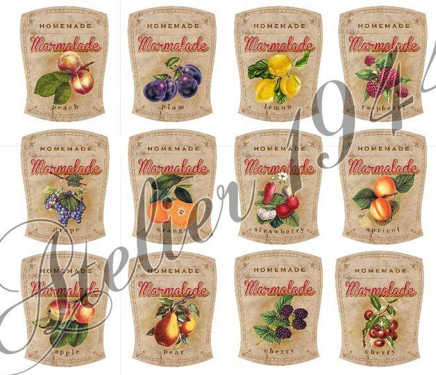 Etiketten Marmelade - versch. Motive - (12 Stück)