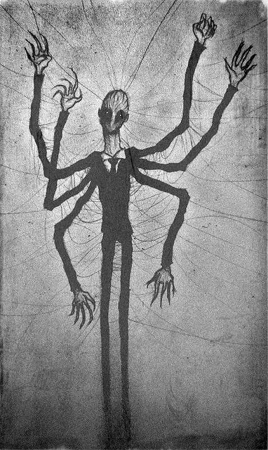 Slender Man, by Crazy-Clayz.    Drawing found on a wall in the abandoned Cane Hill Asylum, Coulsdon, London.