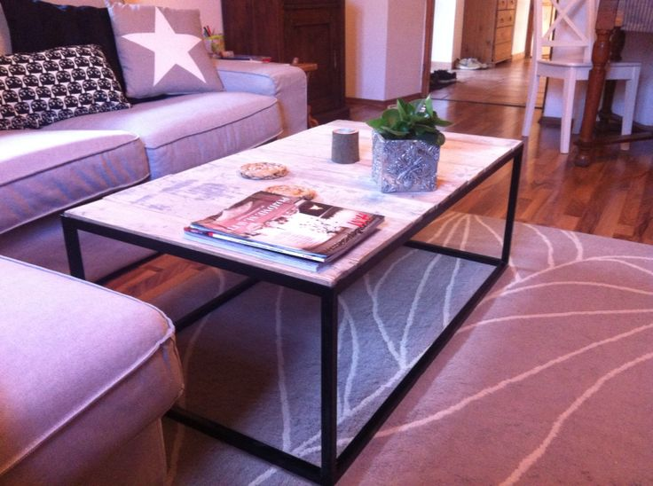 Metal coffee table, wodden coffe table, homemade..