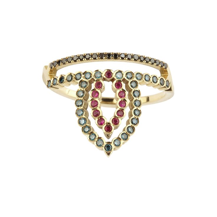 Pink gold ring with black & blue diamonds and rubies www.ito-jewelry.com