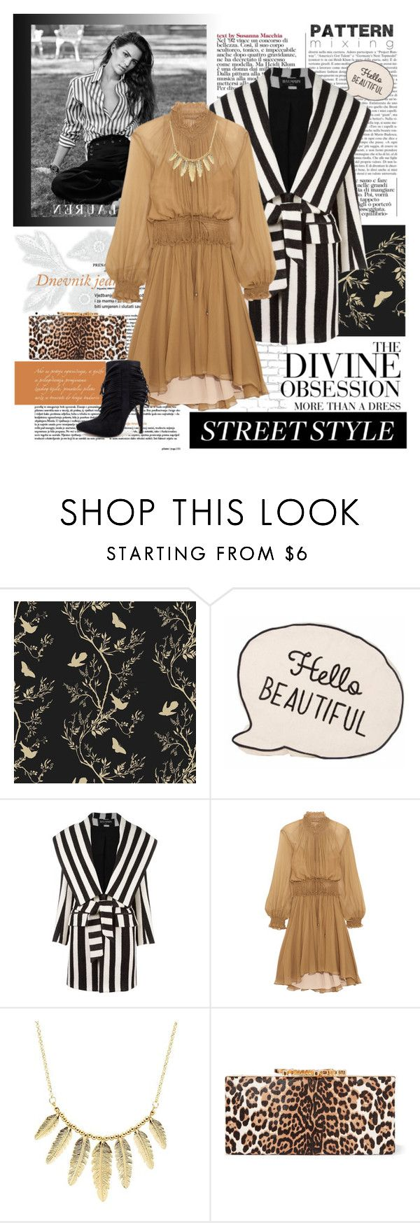 """""""Fall pattern mixing"""" by fashion-holy ❤ liked on Polyvore featuring WALL, Timorous Beasties, Ralph Lauren, Vera Wang, Balmain, Chloé, Charlotte Russe and Jimmy Choo"""