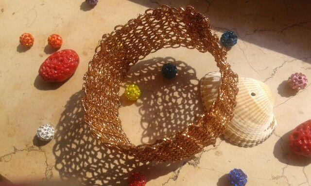 Bracciale wire crochet color rame brillante