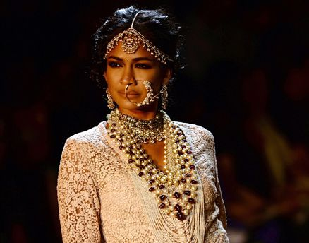 A model presents a creation by Sabyasachi Mukherjee during the PCJ Delhi Couture Week