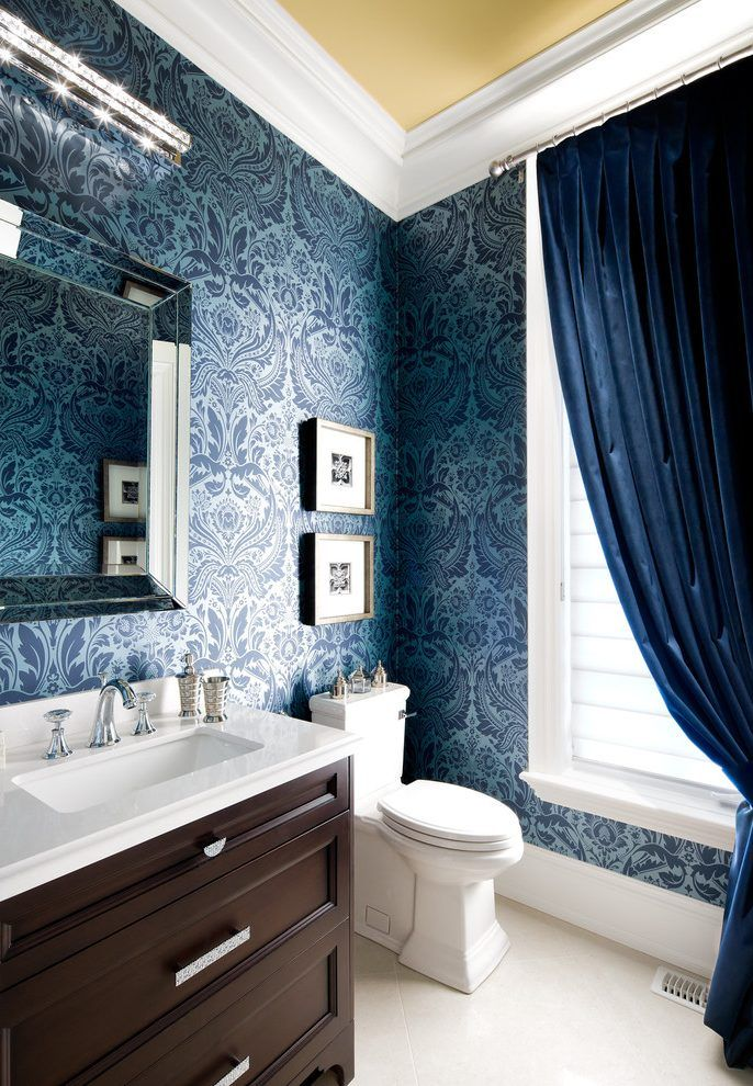 Fabulous Navy Blue Wallpaper For Walls with Velvet Drapes