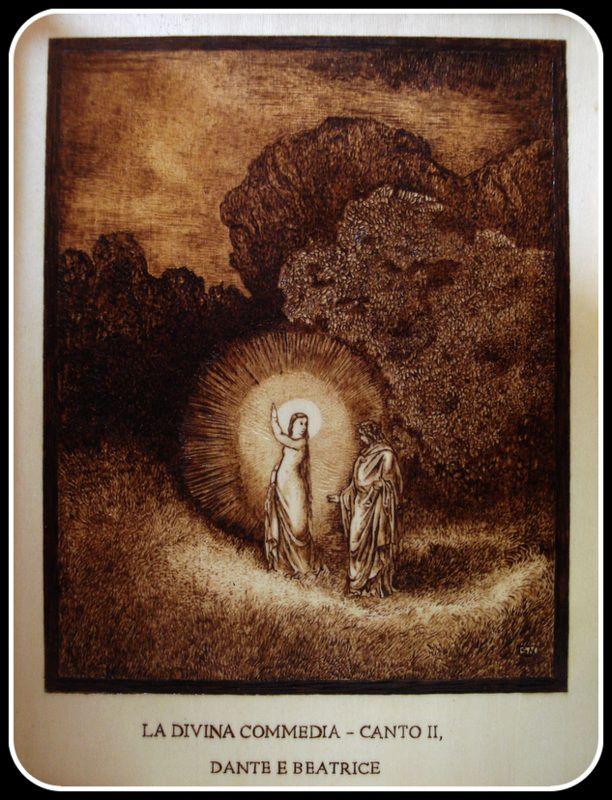 """""""#Dante e #Beatrice"""", #Illustrazione #DivinaCommedia di Simone Naldini #artigianato #pirografia http://omaventiquaranta.blogspot.it/2013/11/linferno-dantesco-di-simone-naldini.htm"""