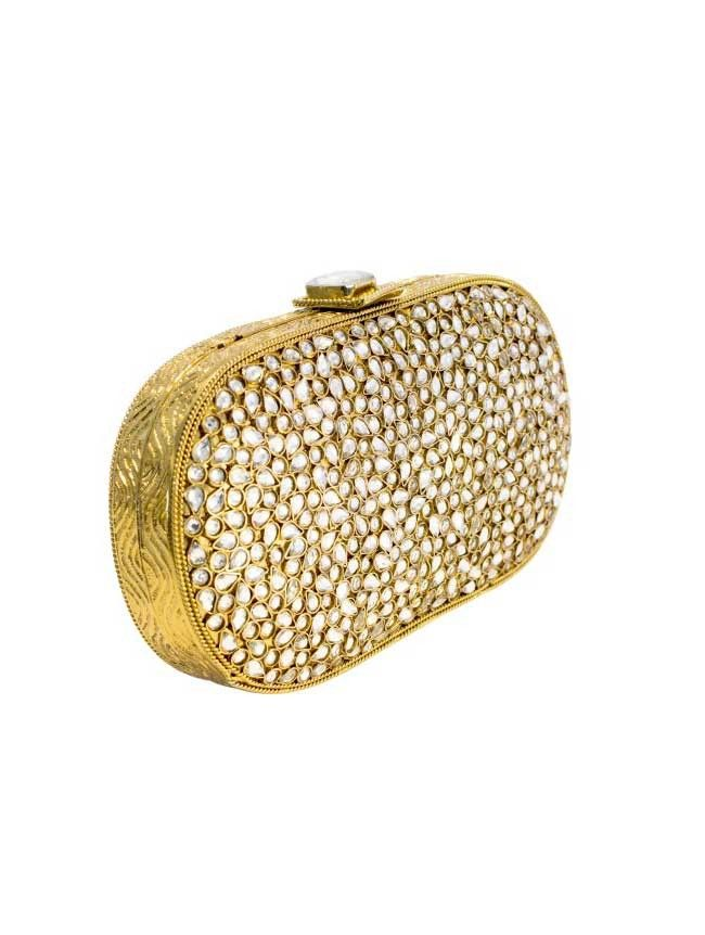 Elegance  - Gold/Diamond Metal Clutch