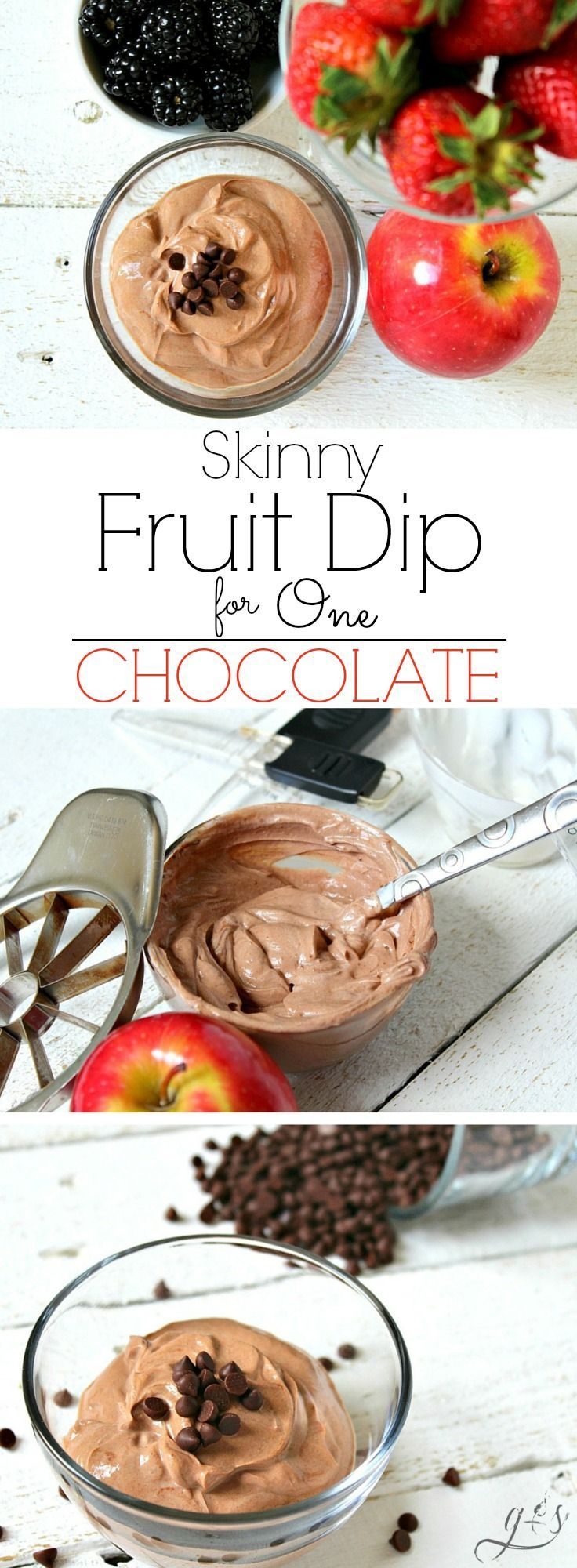 The BEST Skinny Chocolate Fruit Dip for One | A healthy, high protein dip recipe made with plain Greek yogurt and other clean eating ingredients! This easy and low carb chocolate dip will quickly become your favorite snack! It's perfect for dipping fruit like apples or strawberries.