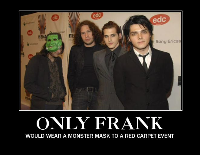 Gerard in his smart suit, and then frank in a hoodie and mask :)