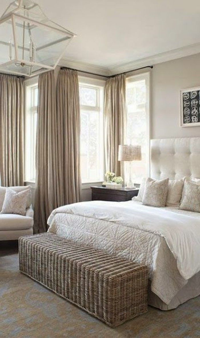 Light Taupe Color Bed Bake Curtains And Taupe Walls White Armchair