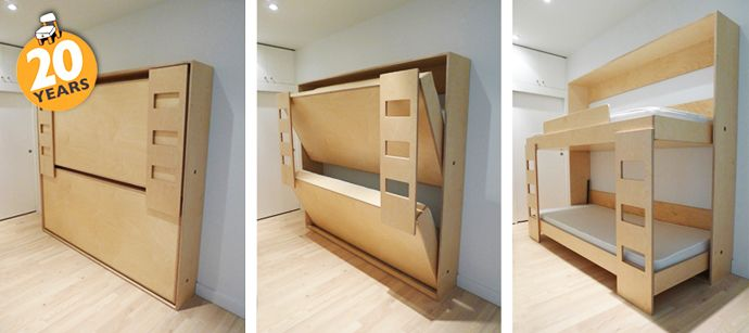 Fold Away bunk beds - great idea for a spare room!  Contemporary Children's Furniture by Casa Kids