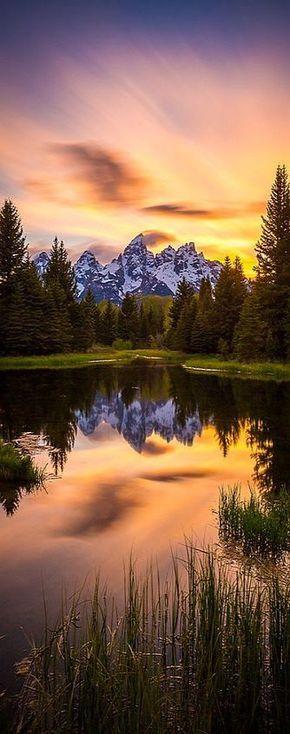 Wyoming - Grand Teton National Park - Sunset On Schwabacher's #Photo by Jordan Edgcomb #usa america mountain sky clouds lake sea forest tree landscape amazing nature reflection
