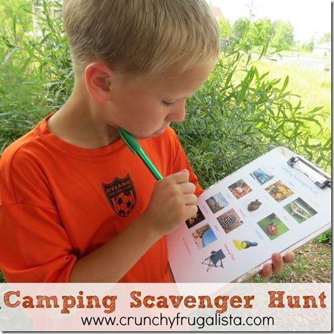 Fun camping scavenger hunt for kids! #kids #camping http://crunchyfrugalista.com/camping-scavenger-hunt-for-kids/