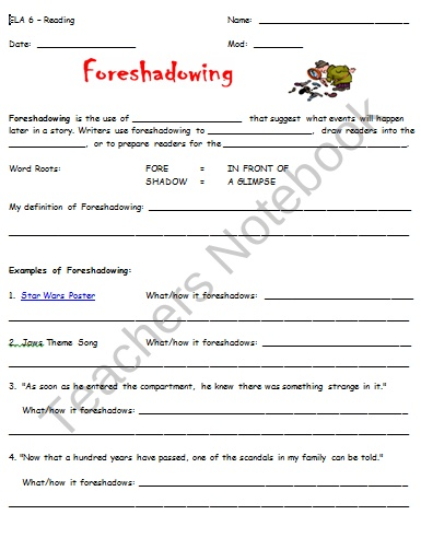Flashback And Foreshadowing Worksheets