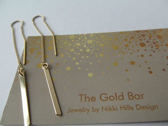 Best Seller! Gold Threader Earrings, 14K Gold Bar Earrings,Ear Thread Earrings, Gold Chain Earrings by TheGoldBar