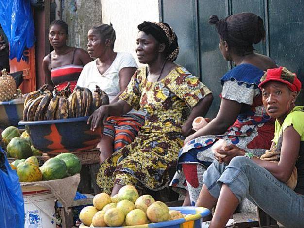 Waterside Market Liberia---Women sell fruit in the Waterside District of Monrovia