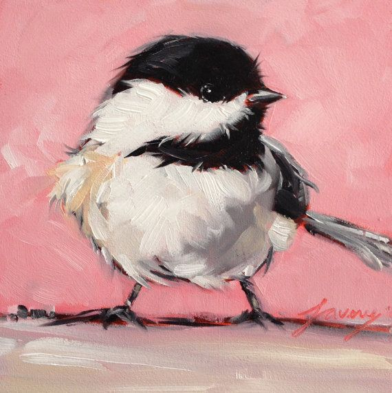 5 x 5 origineel olieverfschilderij van een zoete Chickadee op archivering Gessobord. Deze kleine vogel schilderijen kunnen overal worden gebracht.