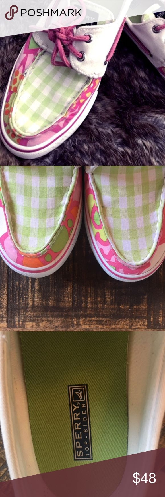 Lilly Pulitzer Inspired Sperry Topsiders Shoes Super cute Lilly-inspired Sperry Topsiders Green gingham outlined by pink, orange and white large floral pattern Pink leather laces and pink line around sole Super padded and comfy. Look great with shorts, pants or a dress Great Used Condition - see pics! :) Barely worn - were just too tight Size 9 (Women's Regular) PERFECT FOR SPRING Or Boat shoes ;-) Sperry Shoes