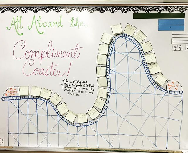 the compliment coaster rolled into town today kids had to choose a - Rolling Whiteboard
