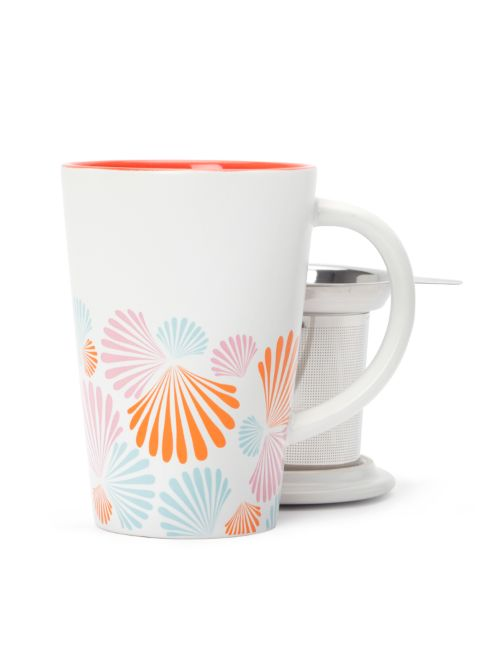 Our classic mug with lid and infuser, in a springy seashell print.