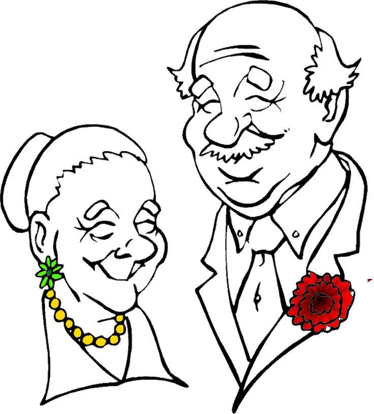 Днем, раскраска открытка для бабушки и дедушки