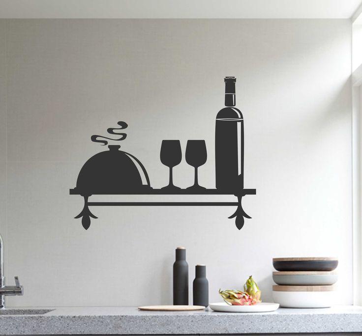 Decorative Faux Bottle Shelf | Vinyl Wall Lettering | Kitchen Decal
