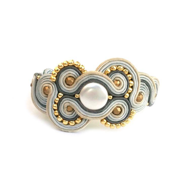 Pearl bracelet - soutache bracelet - Gift for girlfrend - Christmas gift for wife - Statement bracelet - Black friday etsy Cyber monday etsy by SaboDesign on Etsy https://www.etsy.com/listing/256275058/pearl-bracelet-soutache-bracelet-gift