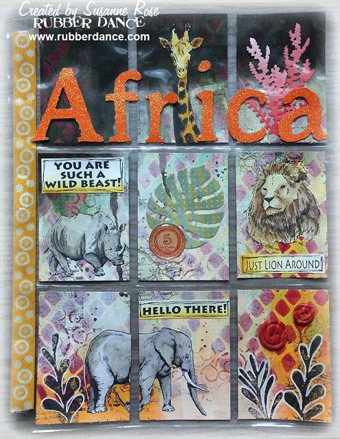 Super Cool Pocket Letter by Susanne Rose, using the African Animals stamps from rubberdance.com