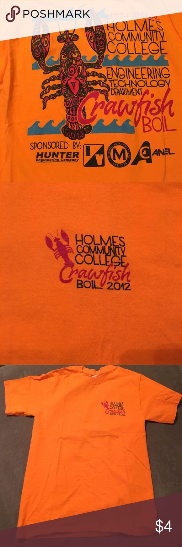Crawfish boil size small T-shirt Small 34-36 t-shirt Holmes community college crawfish boil 2012. Bundle and ask a price on all T-shirts Hanes Tops Tees - Short Sleeve